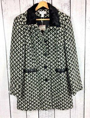 Damen Kurz Mantel Wollmantel gemustert schwarz beige Größe 40