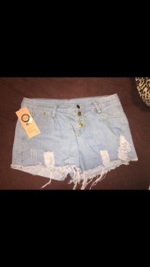 Pantalon court bleu azur