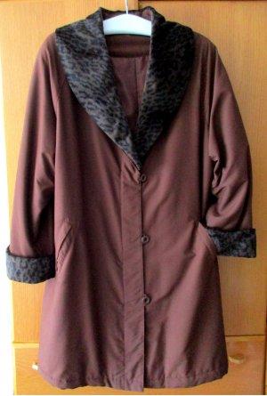 Abrigo corto rojo amarronado-gris oscuro Poliéster