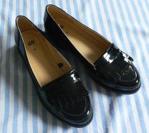 Damen Lackschuhe Loafer Mokassin Lack schwarz Halbschuh Absatz klein Gr. 38 H&M