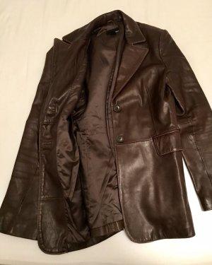 H&M Premium Leather Blazer dark brown