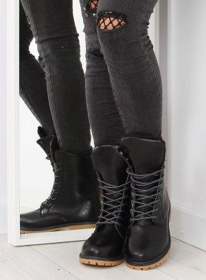 Damen Leder Boots Schnürboots Schnürstiefel Schnürschuhe Stiefeletten in schwarz Blogger Schuhe Größe  36 37 38 49 40 41