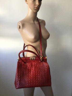 Damen Leder Handbag in Kroko-Optik von Florence Bags