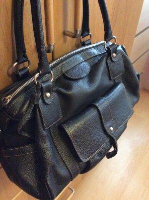 Damen Leder Handtasche schwarz von Vera Pelle Neuwertig