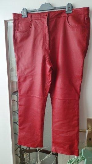 Pantalon en cuir rouge foncé-rouge