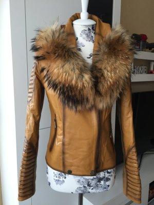 Damen Leder Jacke mit Echtem Pelz