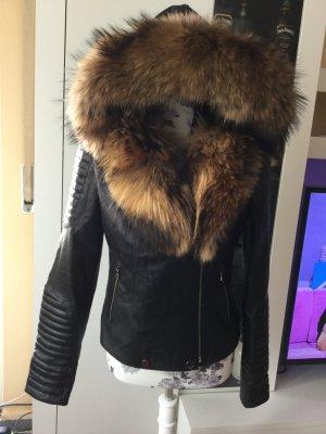 Damen Leder Jacke mit echtem Pelz!