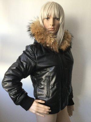 Damen Leder Jacke mit Kapuze von Vera Pelle Gr.S