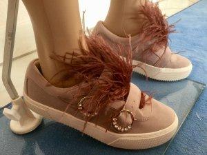 Damen Leder-Sneakers mit Federn von Zara Gr.39