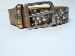 Studded Belt bronze-colored-light brown leather