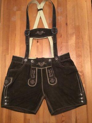Pantalone in pelle tradizionale marrone-nero