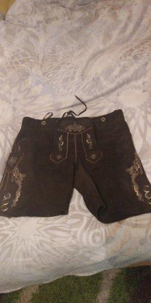 Pantalon traditionnel en cuir brun foncé