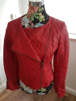 Damen Lederimitat-Jacke rot Größe 36