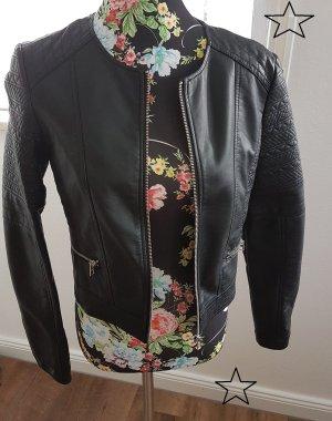 Damen Lederimitat-Jacke schwarz