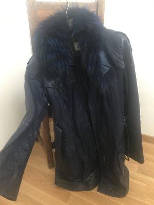 JCC Manteau en cuir noir-bleu foncé
