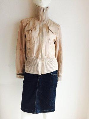 Damen Lederjacke Jacke Von BiBA Gr. 34 Beige Echtleder