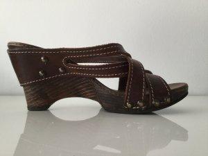 Heel Pantolettes black brown leather
