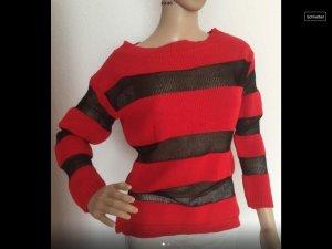 Pull tricoté rouge-noir