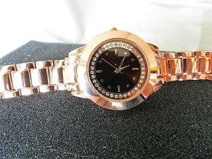 Damen Luxus Armbanduhr Roségold - Kristall Strass - Quarz - Analog - NEU