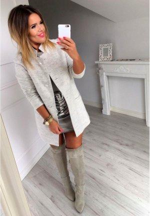 Damen Mantel Jacke Parka Anorak Business grau Knöpfe Blogger Mantel perfekt zu Stiefel Größe S 38 bis 38/40