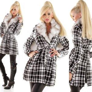 Damen Mantel mit Bindegürtel NEU kariert mit weiß/grauem Fake Fur Fellkragen Business Freizeitmantel Jacke Größe 38
