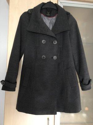 Damen Mantel Wollmantel Zara TRF Warm West Grau Anthrazit Gr M