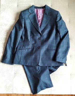 Traje de pantalón azul oscuro-blanco lana de esquila