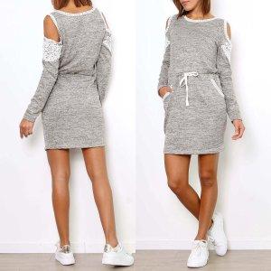 Damen Mini Kleid Shirtkleid Grau 38-42 Strickkleid Schulterfrei Spitze