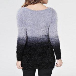Damen Mohair Sweater Strick Pullover Grau 34 36 Neu Blau Grau