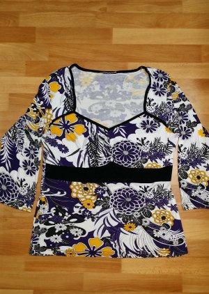 Damen Oberteil/ Blumenmuster, schwarz-weiß-gelb-lila, Gr. M