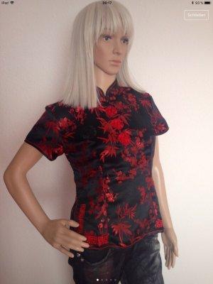 Blusa tipo kimono negro-rojo oscuro Seda