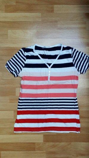 Damen Oberteil/ T-Shirt / kurzärmlig/ schwarz-weiß-lachs-rot gestreift/ Gr. 42