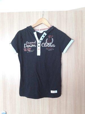 Damen Oberteil T-Shirt mit Kapuze John Baner schwarz Größe 36/38