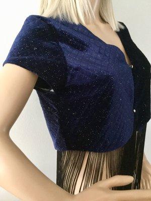 Damen Oberteil Top–Bluse aus Samt mit Fransen von Zara Gr.S