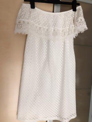 Damen Off Shoulder Kleid Spitze Häckel Boho Weiss Creme Gr S 36 Mango Neu