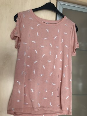 Damen Off Shoulder Shirt Tshirt Gr L Only Rosa Silber Neu mit Etikett
