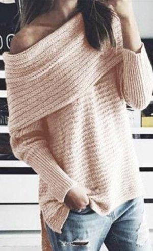 Damen off shoulder Sweater Pullover Rosa L