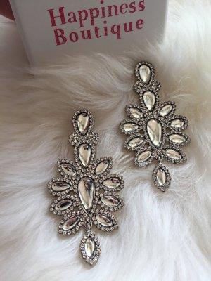 Damen Ohrringe Strass/Silber
