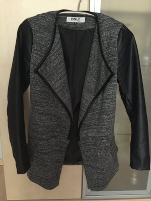 Damen Only Jacke Gr 36 S grau schwarz anthrazit Lederoptik wie Neu
