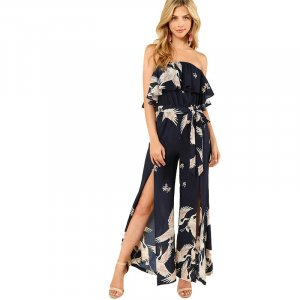 Damen Overall Weites Bein Playsuit Boho Jumpsuit Flamingomuster M