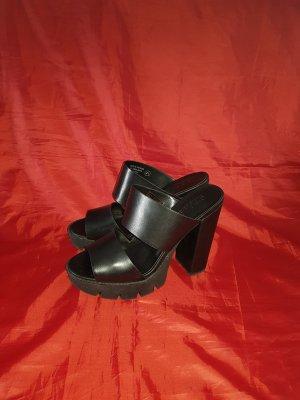 Heel Pantolettes black leather