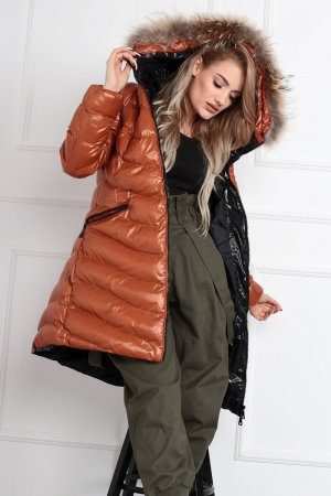 Quilted Coat light brown-black