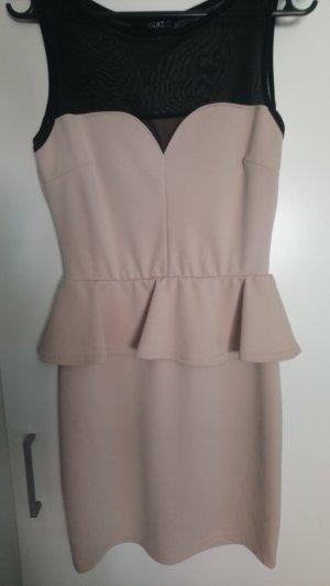 Vestido strapless negro-rosa empolvado