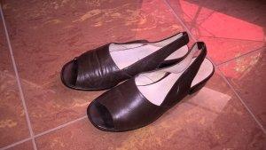 Damen Peeptoe-Slingballerinas Gr. 41 braun