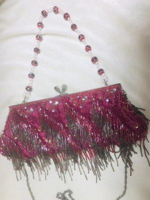 Damen Perlen Abend Handtasche Pink Silber 27x10cm