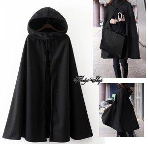 Manteau à capuche noir cachemire