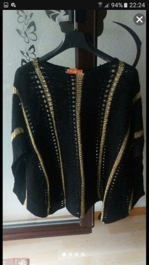 Damen Poncho Pullover in Gold-Schwarz gr.Uni