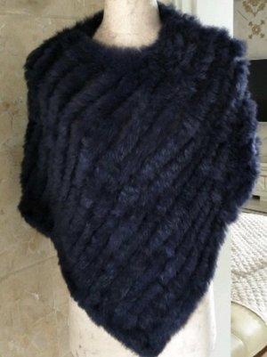 Damen Poncho schwarz 60cm