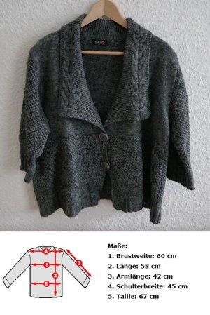 Poncho gris foncé-gris tissu mixte