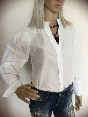 Damen Popelinhemd Bluse mit Applikationen von Zara Gr.XS